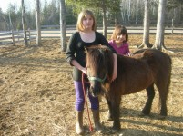 Girls and Miniature Pony